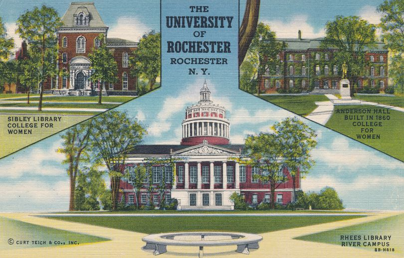 Sibley Library Rhees Library Anderson Hall - University of Rochester, New York - Linen Card