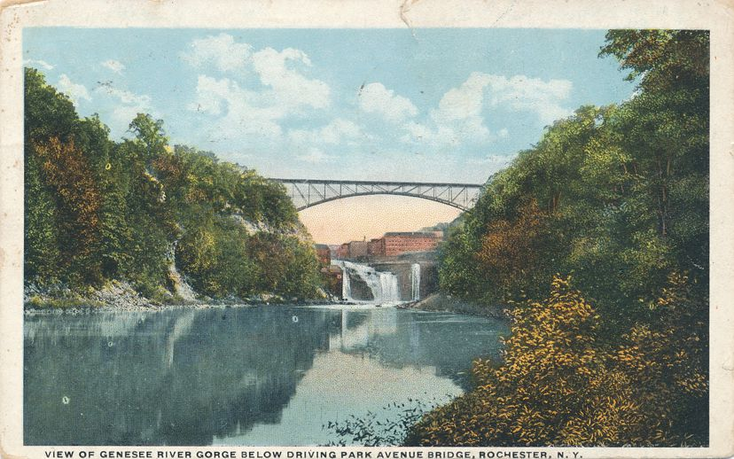 Genesee River Gorge below - Driving Park Avenue Bridge - Rochester, New York - pm 1922 at Greenfield MA - White Border