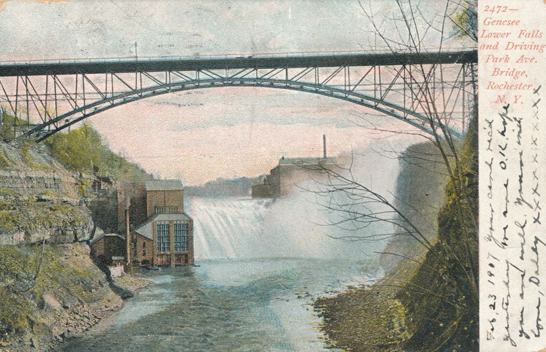 Lower Falls on Genesee River at - Driving Park Avenue Bridge - Rochester, New York - Undivided Back