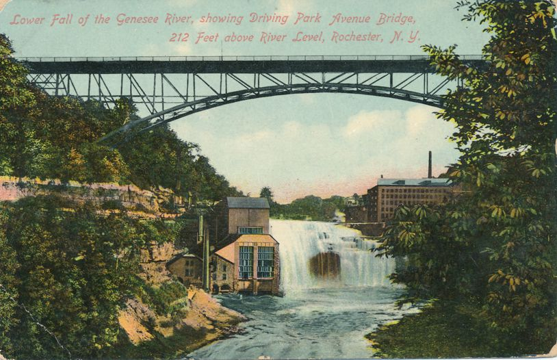Lower Falls Genesee River at - Driving Park Avenue Bridge - Rochester, New York - Divided Back