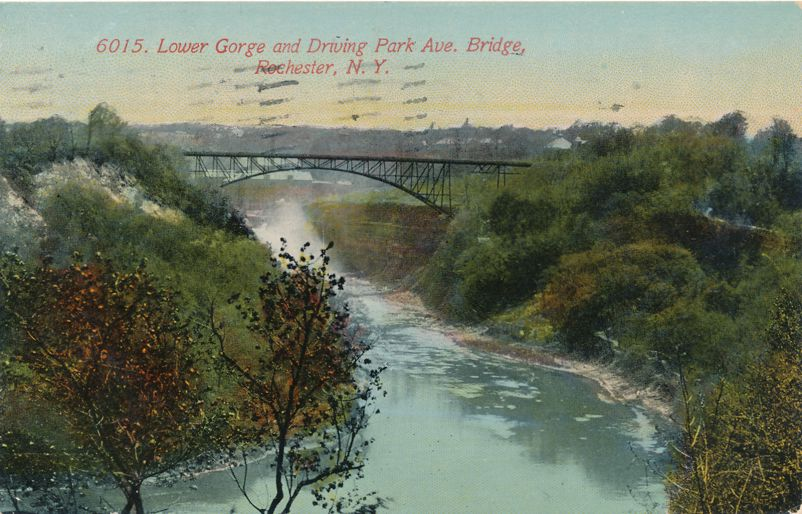 Genesee River Lower Gorge - Driving Park Avenue Bridge - Rochester, New York - pm 1914 - Divided Back