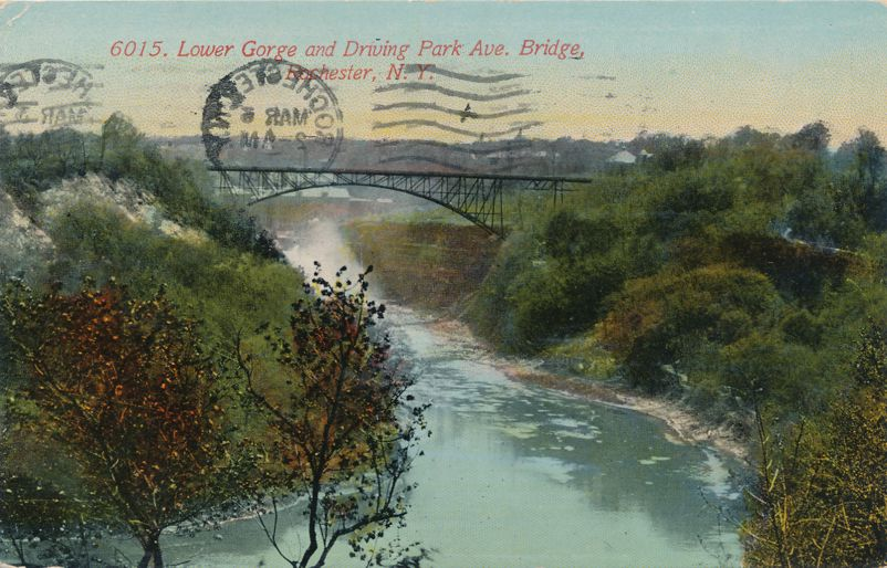 Lower Gorge Genesee River - Driving Park Avenue Bridge - Rochester, New York - pm 1914 - Divided Back