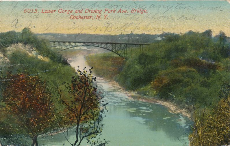 Driving Park Avenue Bridge - Rochester, New York - Lower Gorge Genesee River - pm 1913 - Divided Back