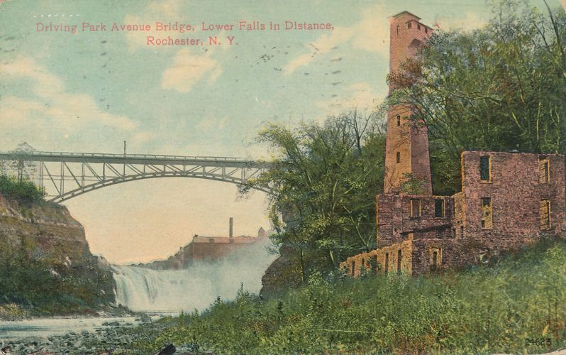 Ruins near Lower Falls - Driving Park Avenue Bridge - Rochester, New York - pm 1913 - Divided Back