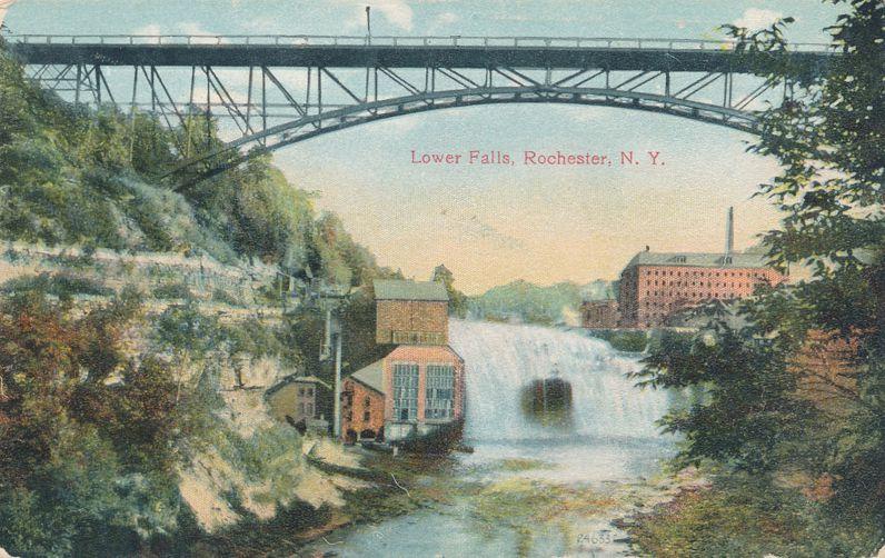 Driving Park Avenue Bridge - Rochester, New York - Lower Falls on Genesee - Divided Back
