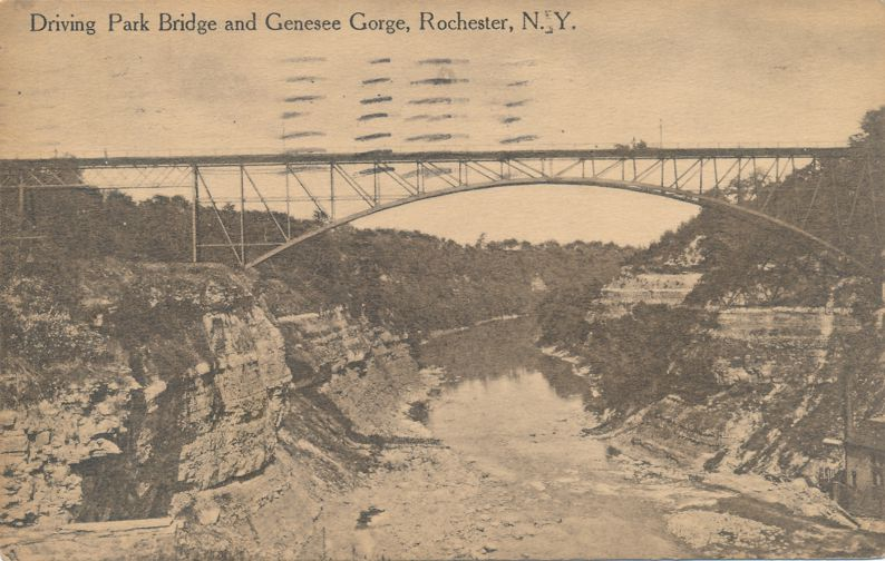 Driving Park Avenue Bridge over Genesee Gorge - Rochester, New York - pm 1914 at Syracuse NY - Divided Back