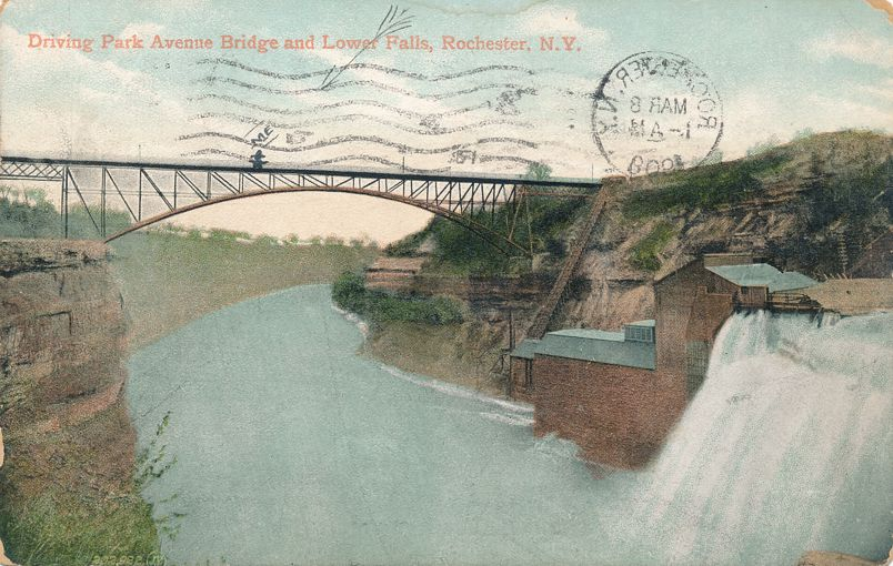 Driving Park Avenue Bridge at Lower Falls - Rochester, New York - pm 1908 - Divided Back