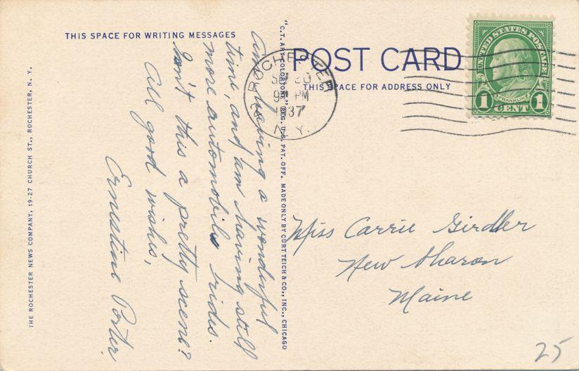 Driving Park Avenue Bridge at Lower Genesee Falls - Rochester, New York - pm 1937 - Linen Card