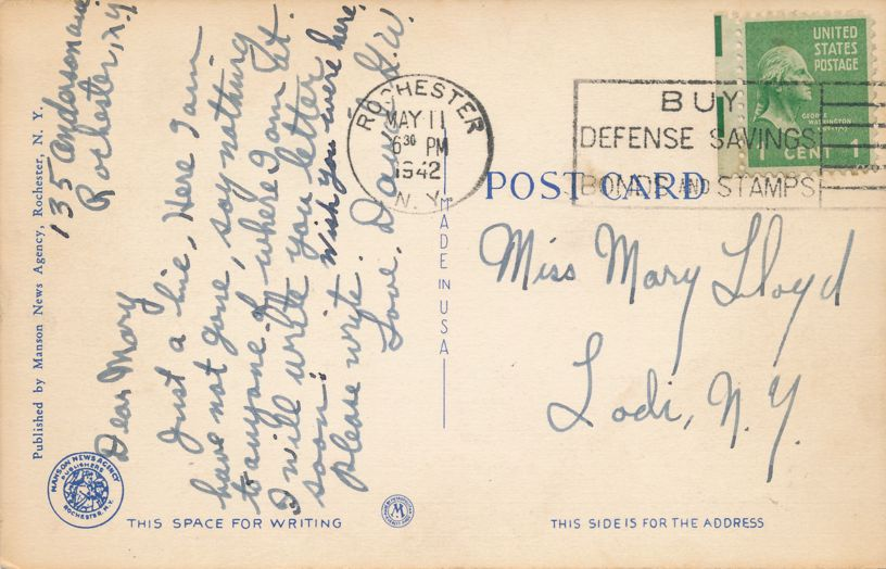Driving Park Avenue Bridge - Rochester, New York - The Genesee River Gorge - pm 1942 - Linen Card