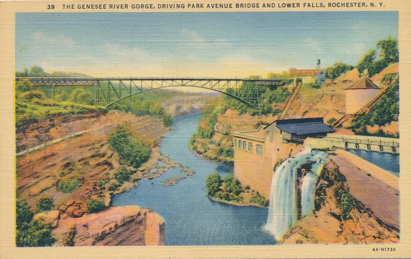 The Genesee River Gorge - Driving Park Avenue Bridge - Rochester, New York - Linen Card