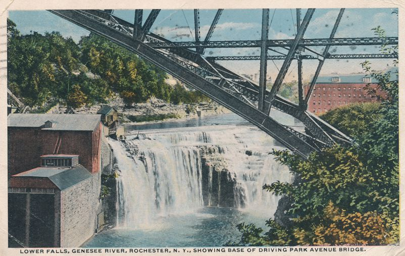 Lower Falls at Base of - Driving Park Avenue Bridge - Rochester, New York - pm 1915 - White Border