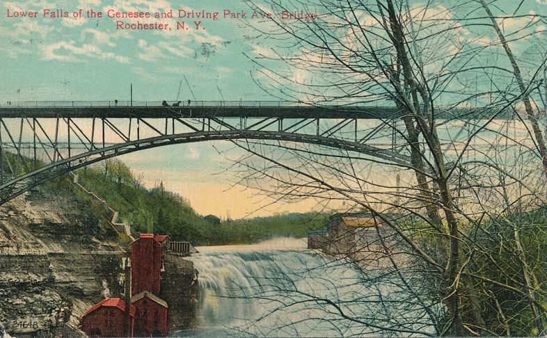 Driving Park Avenue Bridge - Rochester, New York - Lower Falls of the Genesee - pm 1913 - Divided Back