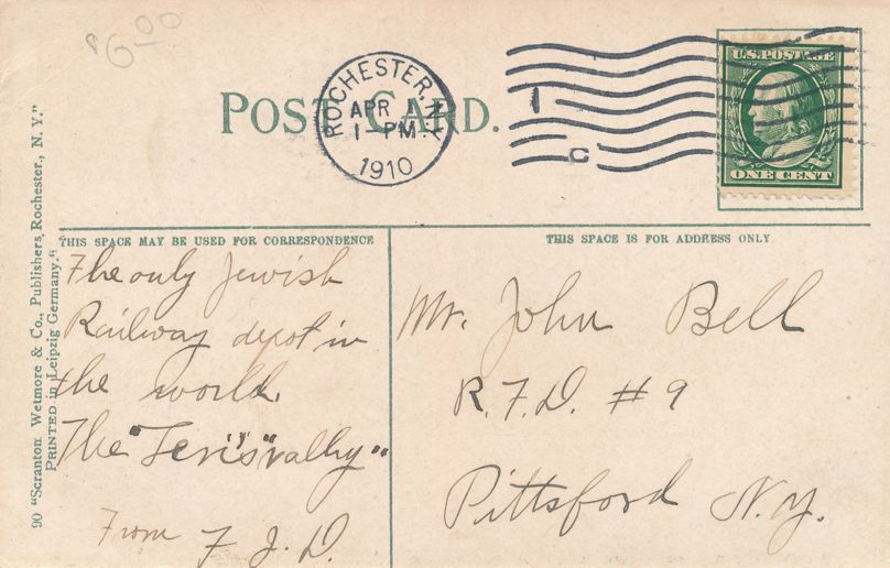 Rochester, New York - Lehigh Valley Railroad Passenger Station - pm 1910 - Divided Back