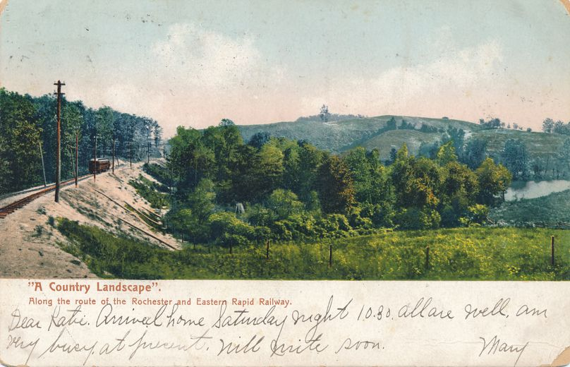 Country Landscape along Rochester and Eastern Rapid Railway - Rochester New York - pm 1905 at Geneva NY - Undivided Back