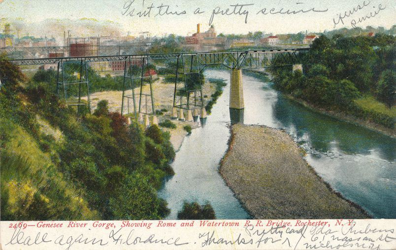 Rome & Watertown Railroad Bridge - Rochester, New York - Genesee River Gorge - pm 1906 - Undivided Back