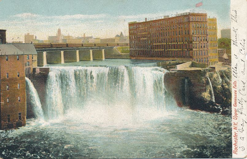 Rochester, New York - Upper Genessee Falls - pm 1907 at Northampton MA - Undivided Back