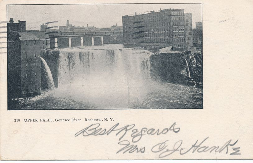 Rochester, New York - Train over Upper Falls on Genesee River - pm 1905 - Undivided Back
