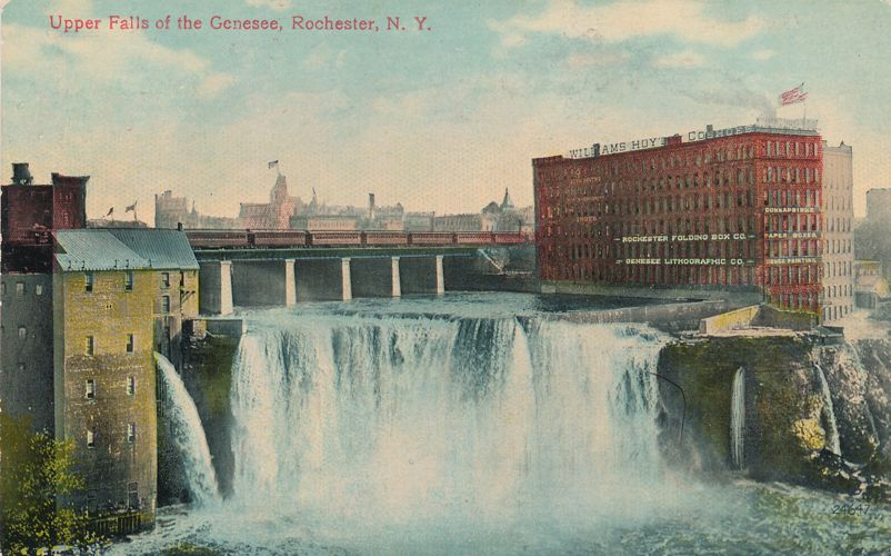 Upper Falls of the Genesee - Rochester, New York - Nice Signage - pm 1910 at Marion NY - Divided Back