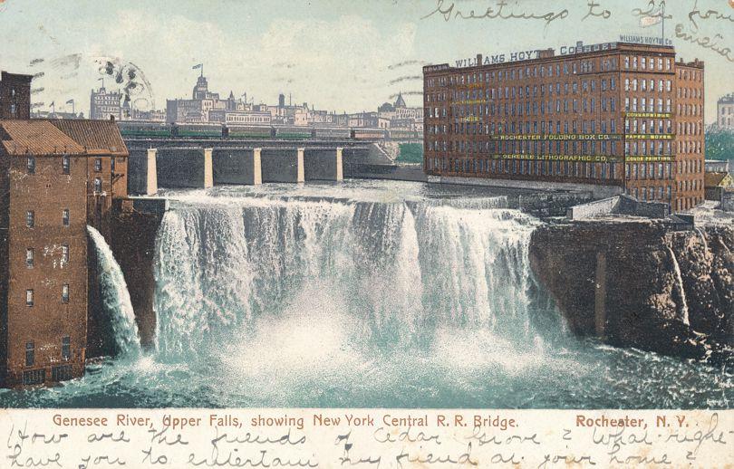 Upper Falls at Rochester, New York - NY Central Railroad Bridge - pm 1905 - Undivided Back