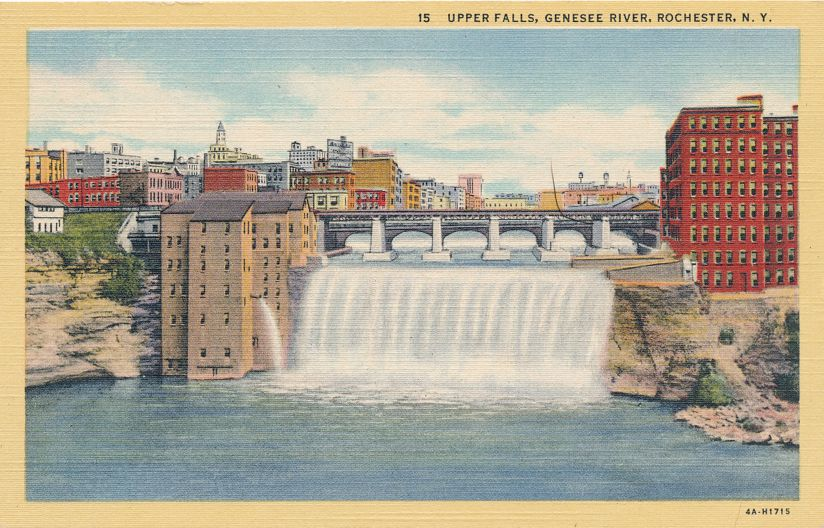 Genesee River at the Upper Falls - Rochester, New York - Linen Card