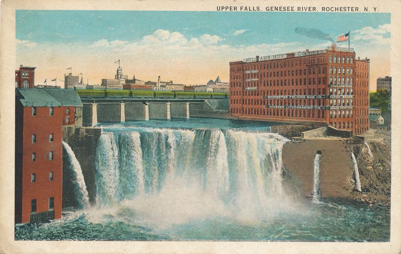 Train over Upper Falls - Rochester, New York at the Genesee River - pm 1926 - White Border