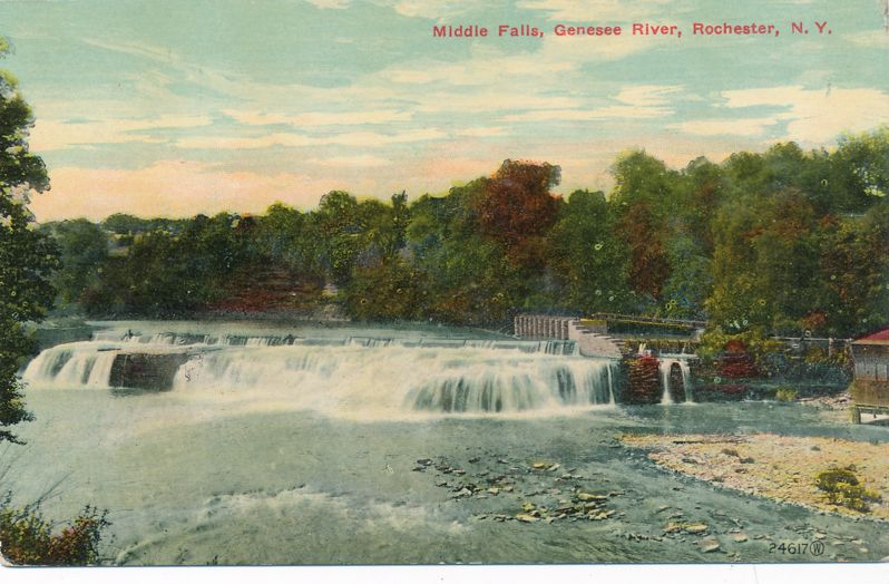 Middle Falls of the Genesee at Rochester, New York - Divided Back
