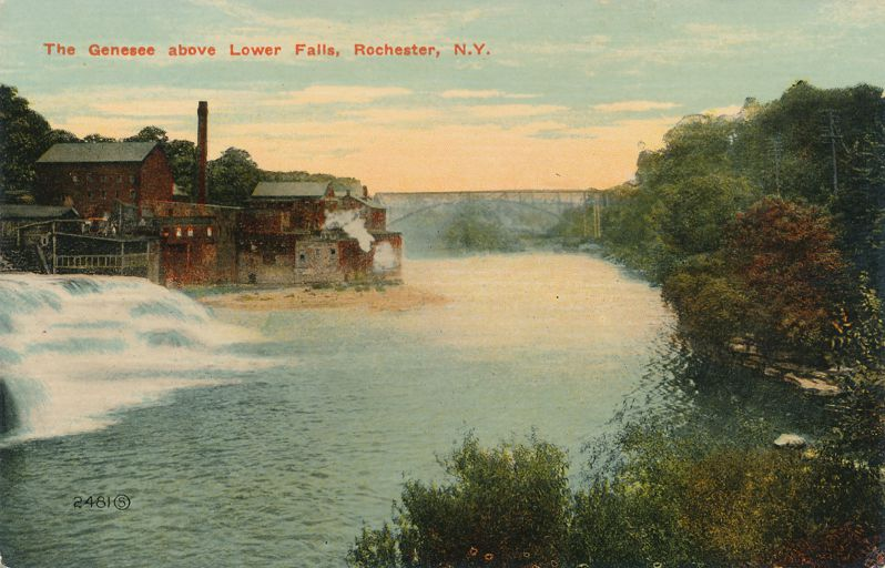 Industry on Genesee River above Lower Falls - Rochester, New York - Divided Back