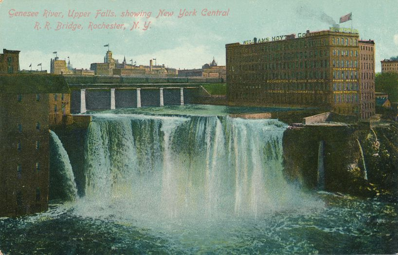 NY Railroad Bridge over Genesee River - Rochester, New York at Upper Falls - Divided Back