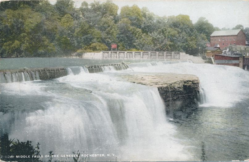Middle Falls of the Genesee River - Rochester, New York Divided Back
