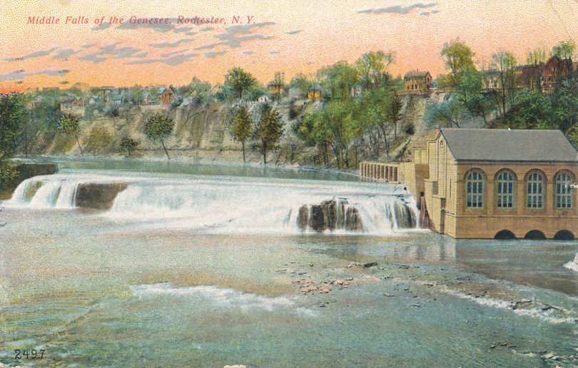Rochester, New York - Middle Falls of the Genesee River - pm 1908 - Divided Back