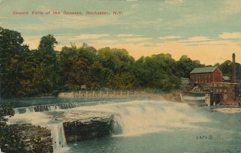 Second Falls of the Genesee River - Rochester, New York - pm 1914 - Divided Back