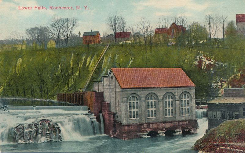Lower Falls and Water Power on Genesee River - Rochester, New York - Divided Back