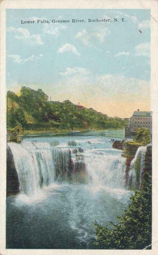 Lower Falls of the Genesee River - Rochester, New York - pm 1922 - White Border
