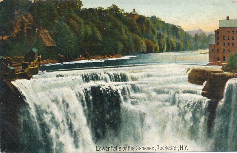 View at Lower Falls of the Genesee River - Rochester, New York - Divided Back