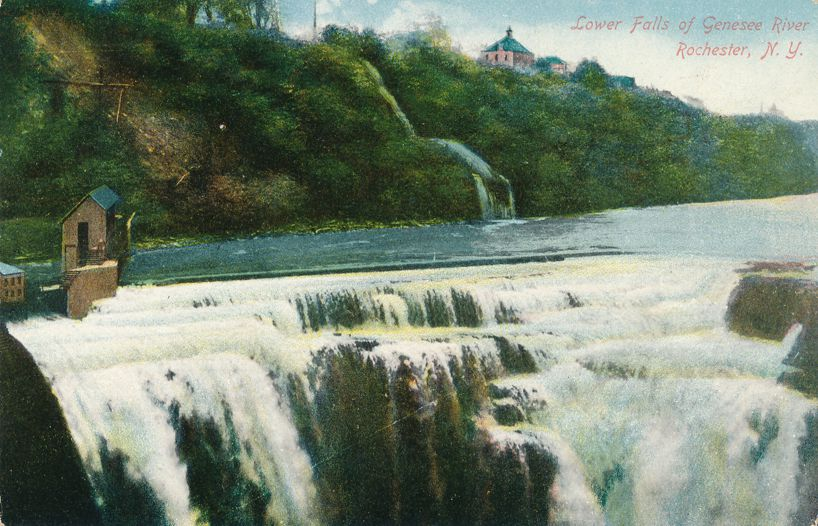 Rochester, New York - Above the Lower Falls of the Genesee River - Divided Back