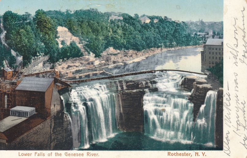 Rochester, New York at Lower Falls of the Genesee - DPO 1907 at Lakeside Wayne County NY - Divided Back
