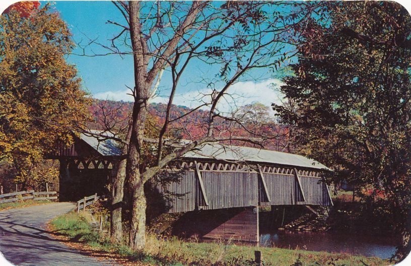 Greetings from Andes, New York - Typical Covered Bridge in Delaware River Valley - pm 1959