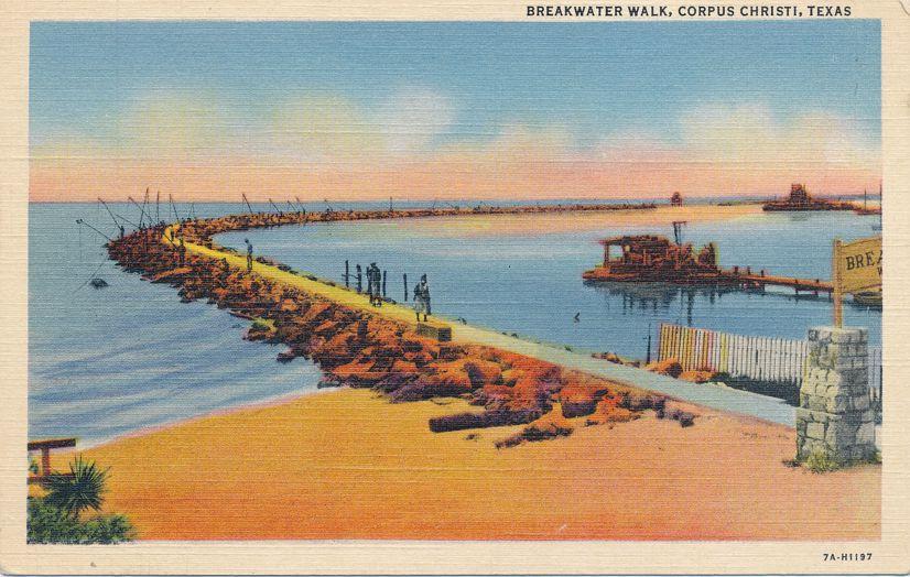 Breakwater Walk Way - Corpus Christi, Texas - Linen Card
