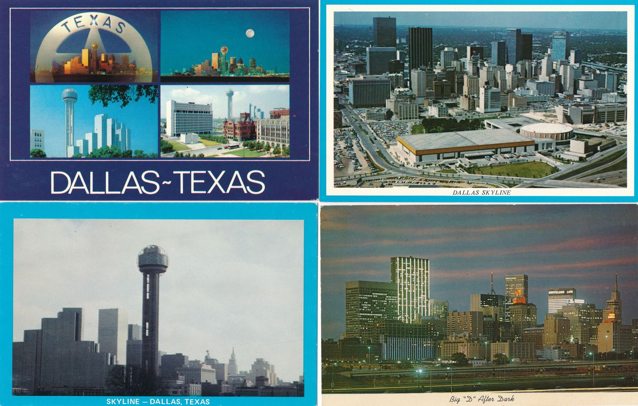 (4 cards) Night and Day Scenes of Dallas, Texas