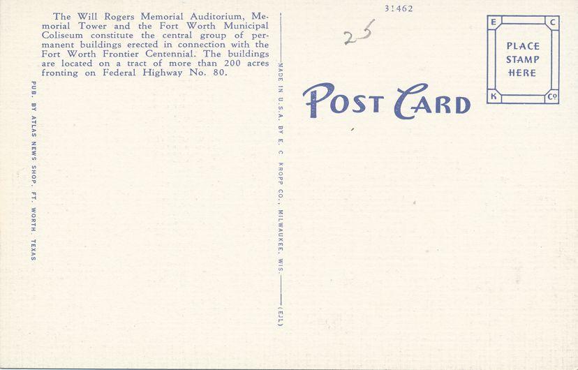 Fort Worth, Texas - Auditorium - Tower - Coliseum - Linen Card
