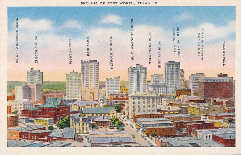 Fort Worth, Texas - Skyline - Named Buildings - Linen Card