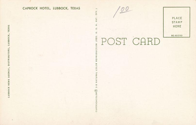 Caprock Hotel at Lubbock, Texas