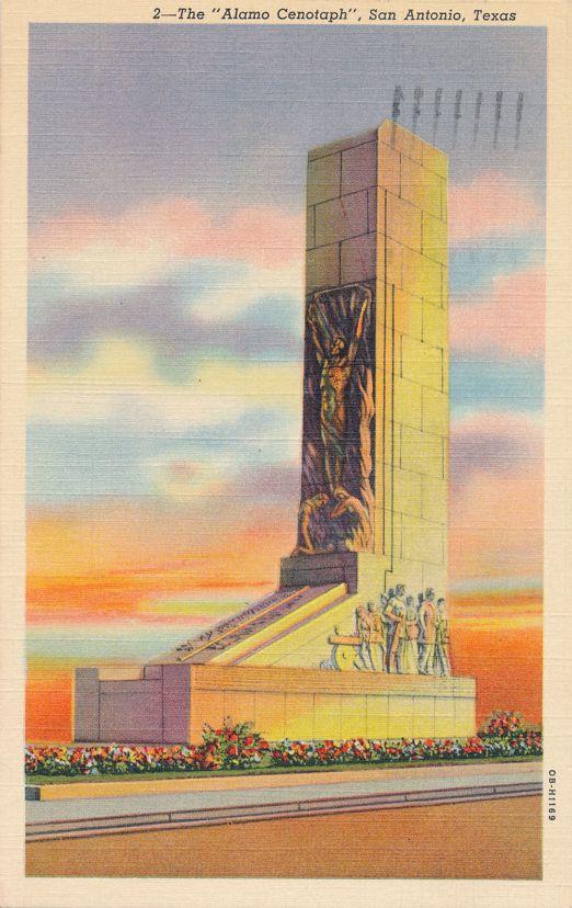 San Antonio, Texas - The Alamo Cenotaph - pm 1941 at Fort Worth - Linen Card