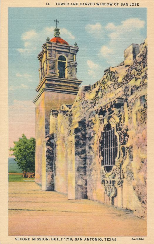 San Antonio, Texas - Tower and Carved Window - San Jose Mission - Linen Card