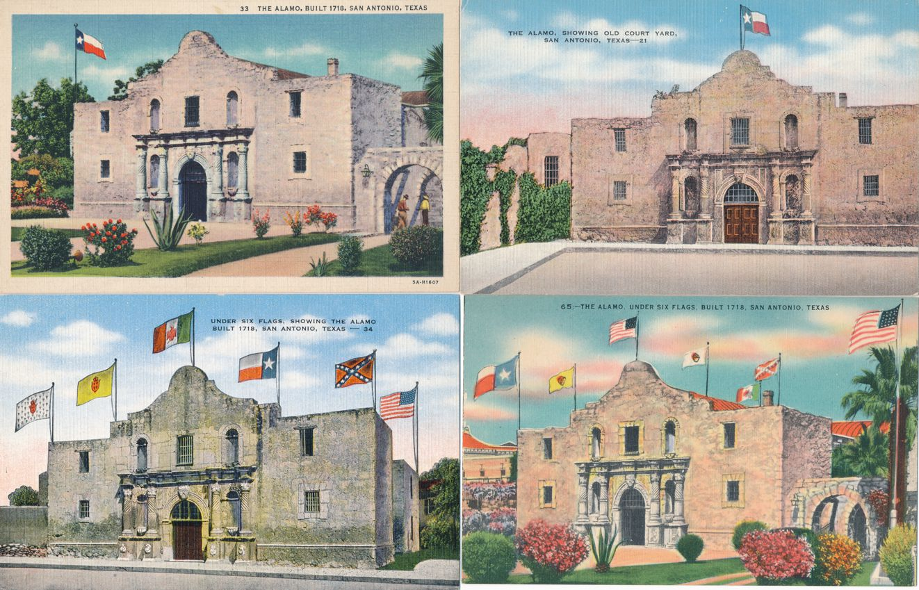 (4 cards) San Antonio, Texas - The Alamo Under Six Flags - Linen Card
