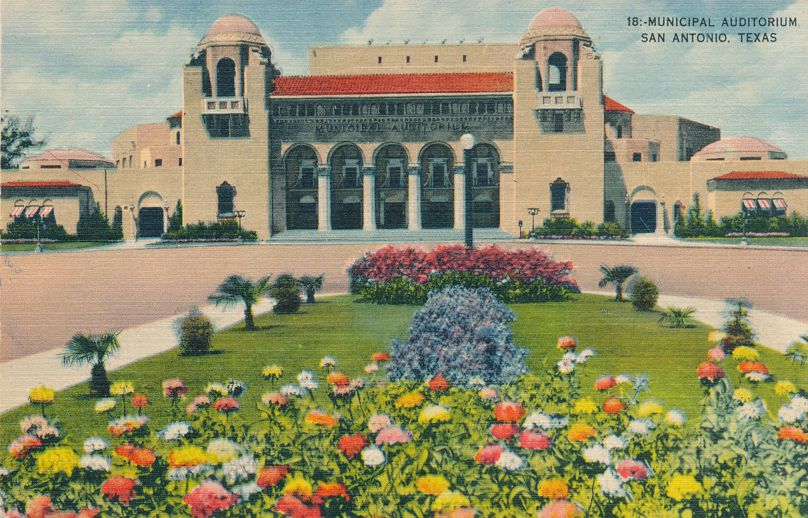 Municipal Audirorium - Flower Garden - San Antonio, Texas - Linen Card