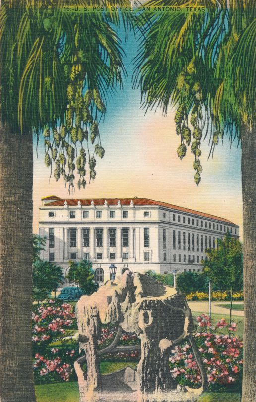 San Antonio, Texas - The Post Office viewed from The Plaza - Linen Card