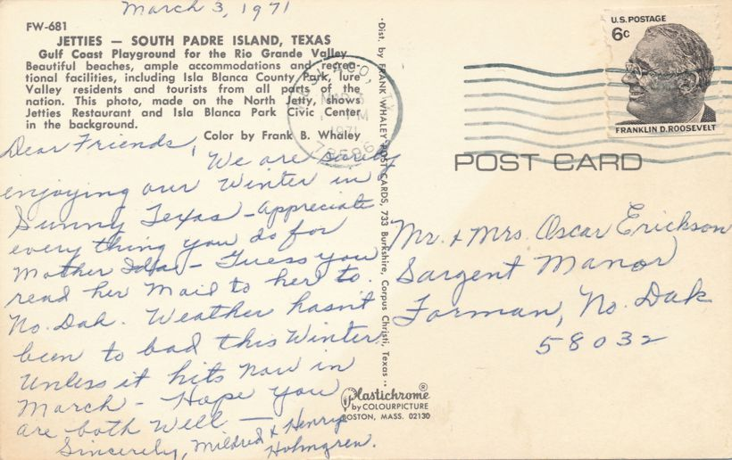 Jetties at South Padre Island, Texas - Playground of Rio Grande Valley - pm 1971 at Veslaco TX