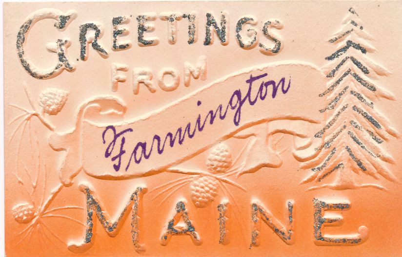 Greetings from Farmington, Maine - The Pine Tree State - Divided Back