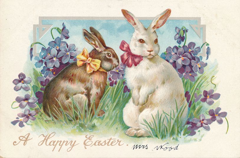 Easter Greetings - Rabbits with Ribbon Bows and Flowers - Divided Back - Tuck